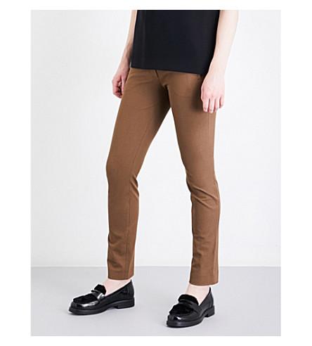 JOSEPH Eliston stretch-gabardine trousers (Dark+fawn