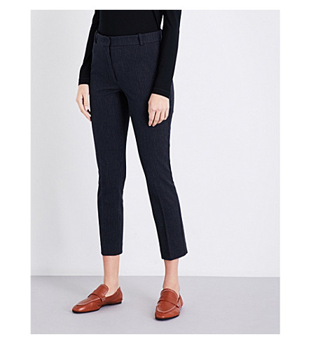 JOSEPH Tapered pinstriped stretch-gabardine trousers (Navy