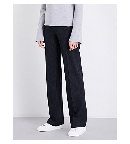 JOSEPH Wide-leg pinstriped stretch-gabardine trousers (Navy