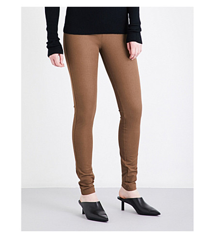 JOSEPH High-rise slim-fit stretch-gabardine leggings (Dark+fawn
