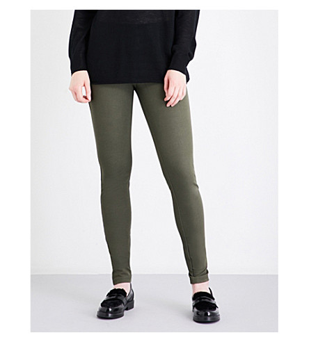 JOSEPH High-rise slim-fit stretch-gabardine leggings (Army