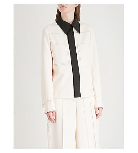 JOSEPH Coen contrast-collar crepe jacket (Ecru/black