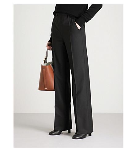 JOSEPH Regular-fit flared high-rise woven trousers (Black
