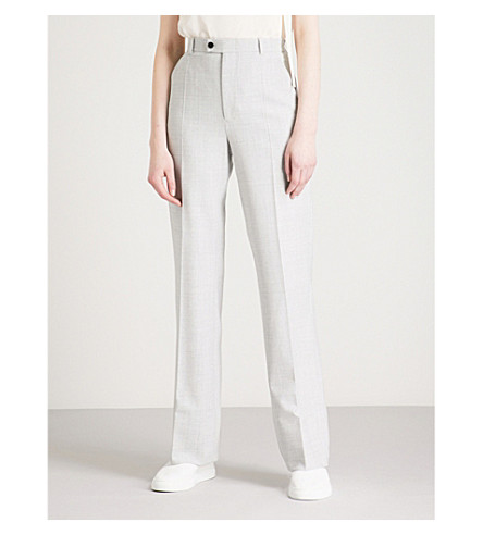 JOSEPH Tropez flared wool-blend trousers (Grey+chine