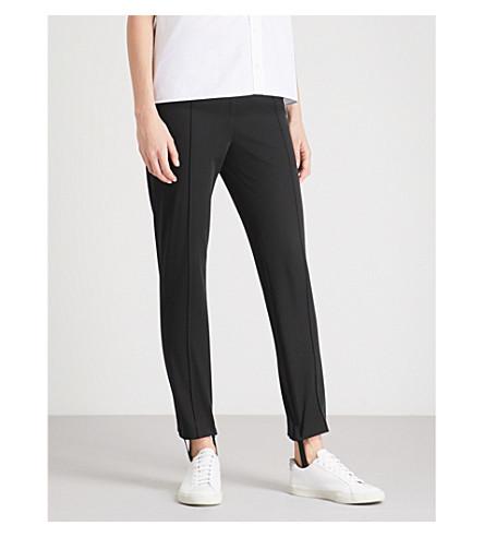JOSEPH Stirrup-cuff slim-fit high-rise stretch-cotton trousers (Black