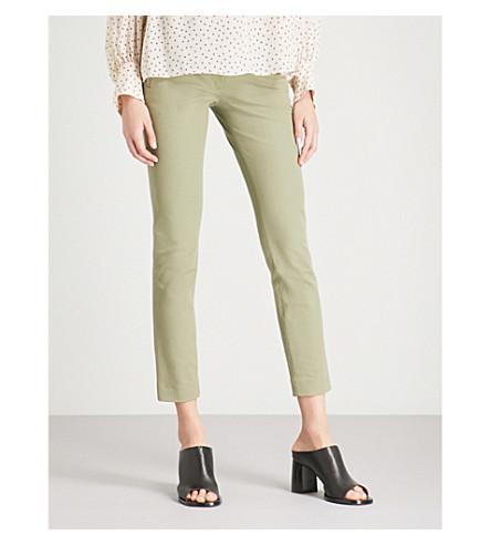 JOSEPH Slim-fit skinny mid-rise stretch-gabardine trousers (Pea