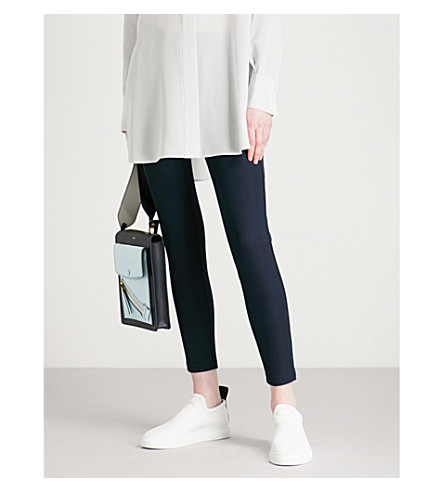 JOSEPH Slim-fit skinny high-rise woven trousers (Navy