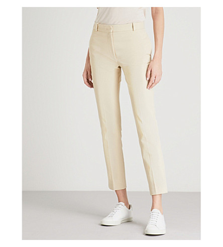 JOSEPH Slim-fit skinny mid-rise stretch-gabardine trousers (Custard