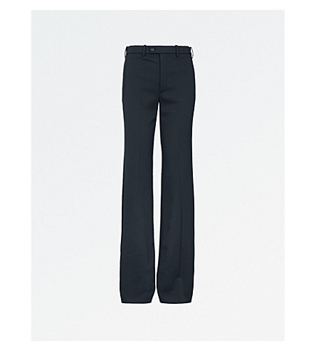 JOSEPH Kosta flared high-rise stretch-wool trousers (Navy