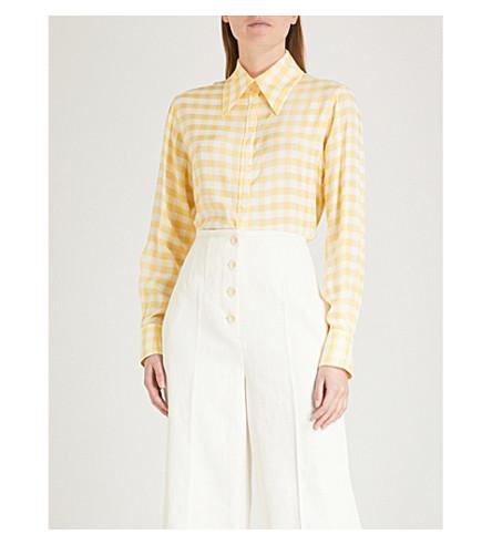 JOSEPH Checked woven blouse (Dandelion