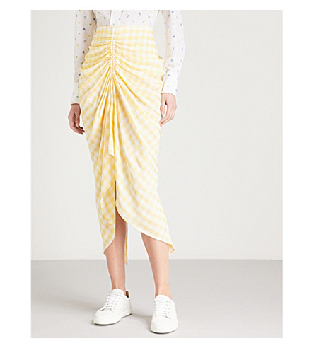 JOSEPH Checked ruched woven skirt (Dandelion