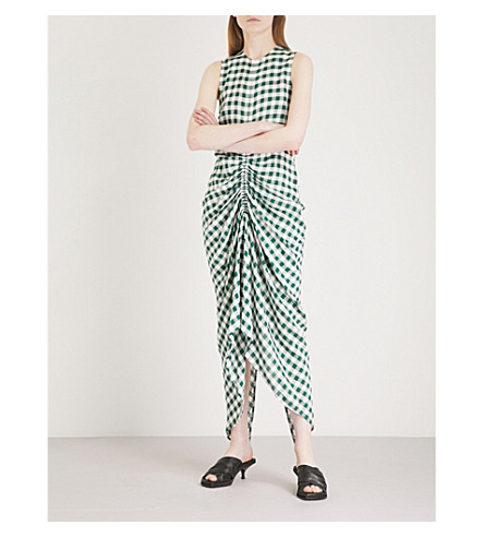 JOSEPH Zadie gingham ruched dress (Emerald