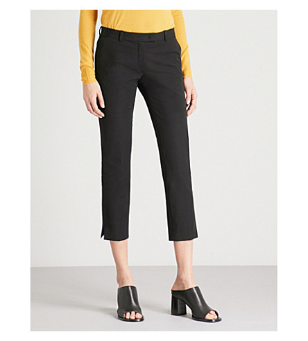 JOSEPH Slim-fit straight high-rise stretch-gabardine trousers (Black