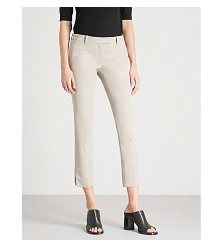 JOSEPH Slim-fit straight mid-rise stretch-cotton trousers (Ecru