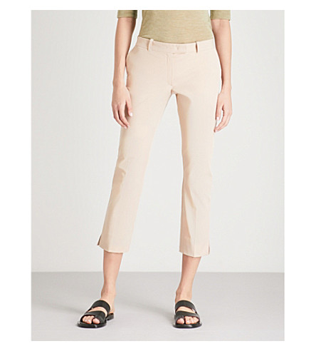 JOSEPH Slim-fit straight mid-rise stretch-cotton trousers (Stucco