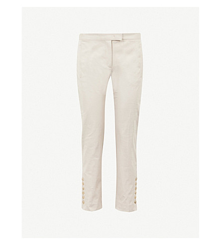 JOSEPH Slim-fit straight high-rise stretch-cotton trousers (Ecru