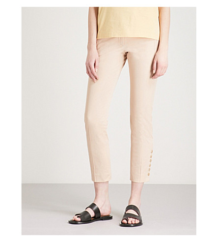JOSEPH Finley slim-fit cropped stretch-cotton trousers (Stucco