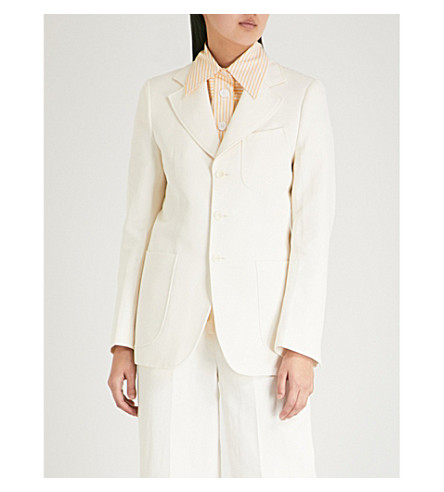 JOSEPH Notch-lapel single-breasted woven jacket (Ecru