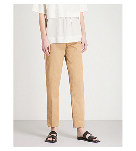 JOSEPH Fever tapered woven-twill trousers (Camel