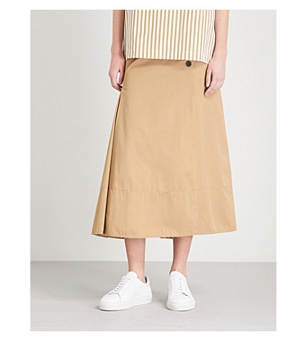 JOSEPH Chino Smith cotton midi skirt (Camel