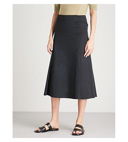JOSEPH Chino Smith cotton midi skirt (Navy