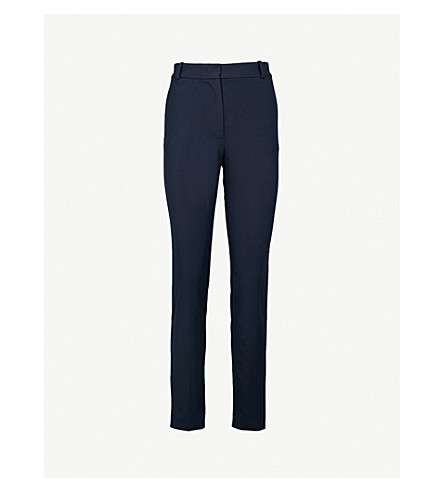 JOSEPH Zoom cropped stretch-gabardine trousers (Navy