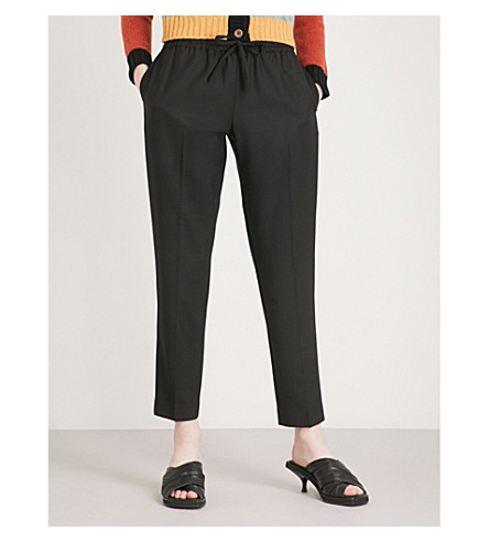 JOSEPH Lound relaxed-fit cropped woven trousers (Black