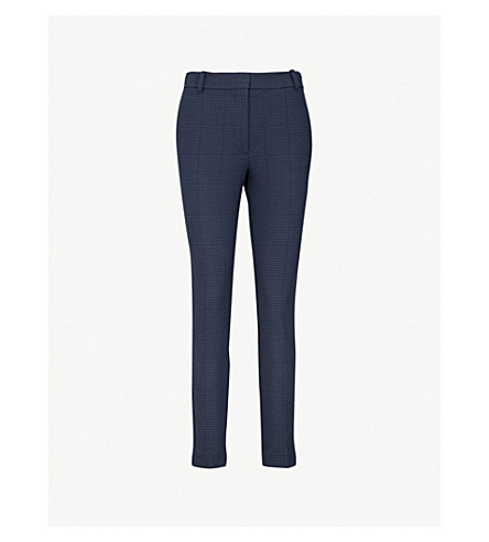 JOSEPH Prince of Wales-checked slim-fit woven trousers (Navy