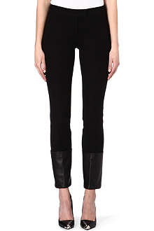 JOSEPH Leather trim stretch jeans