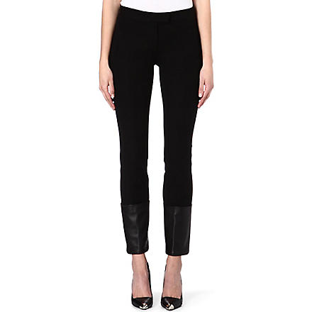 JOSEPH Leather trim stretch jeans (Black