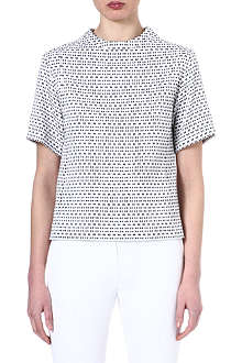 JOSEPH Cotton optic jacquard top