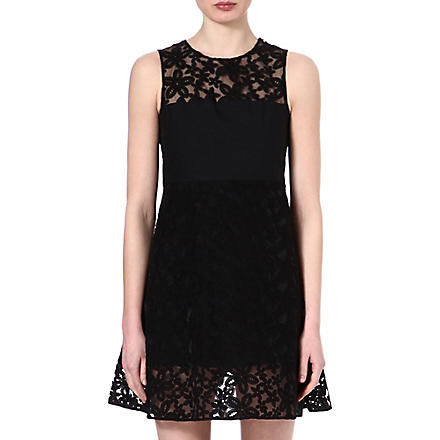 JOSEPH Floral broderie anglaise dress (Black