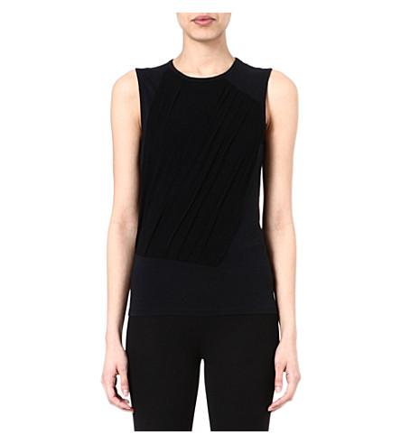 JOSEPH Tulle jersey vest (Black