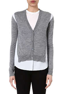 JOSEPH Merinos and poplin v-neck cardigan