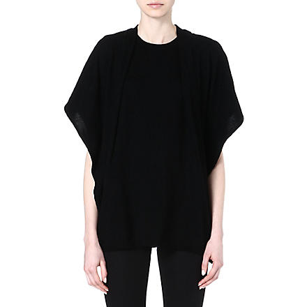 JOSEPH Wool poncho (Black