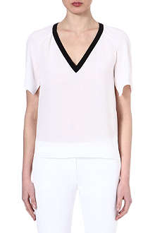 JOSEPH Contrast v-neck silk top