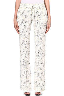 JOSEPH Silk pixelated-print silk trousers