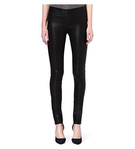 JOSEPH Stretch leather leggings (Black