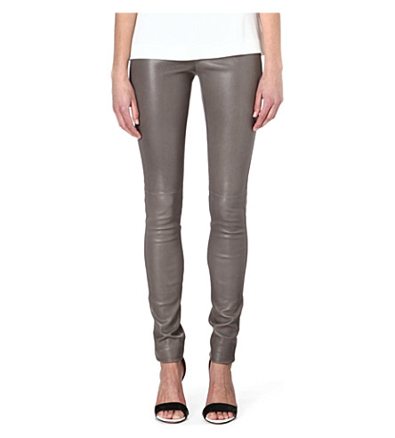 JOSEPH Leather leggings (Cloudy
