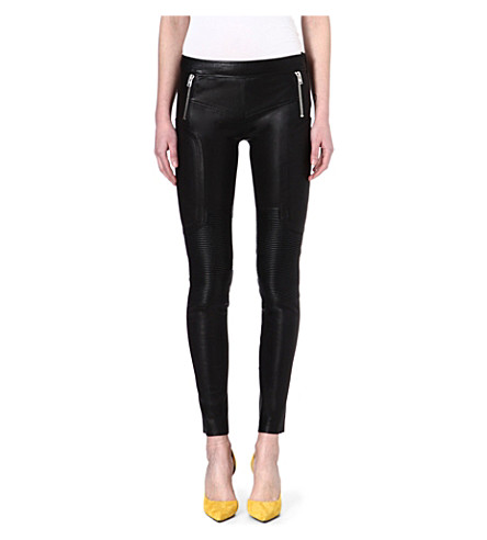 JOSEPH Stretch leather trousers (Black