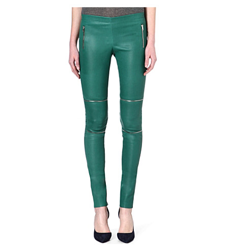 JOSEPH Stretch leather trousers (Green