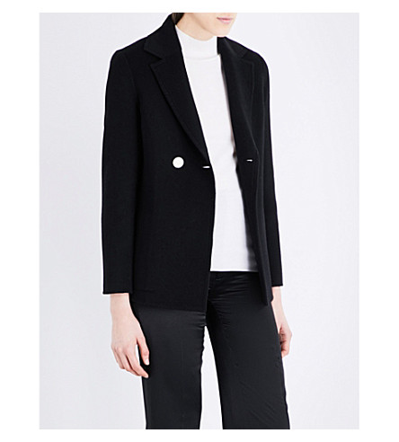 JOSEPH Double-breasted wool and cashmere jacket (010black