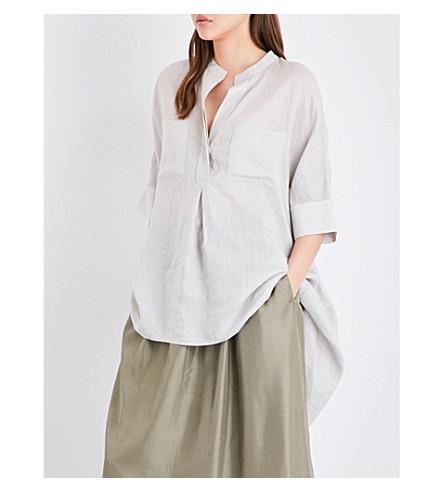 JOSEPH Heather ramie-voile and silk-georgette blouse (266+coconut