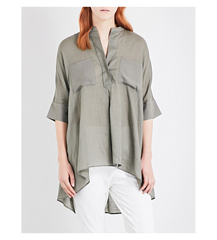 JOSEPH Heather ramie-voile and silk shirt (451+fatigue