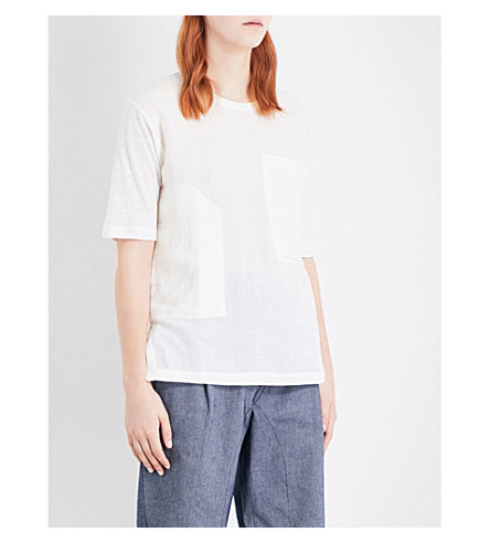 JOSEPH Vintage linen and jersey T-shirt (021+off+white