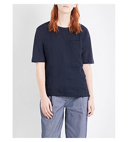 JOSEPH Vintage linen and jersey T-shirt (370+navy