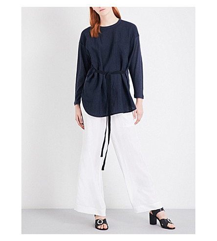 JOSEPH Strap-detail linen and jersey top (370+navy