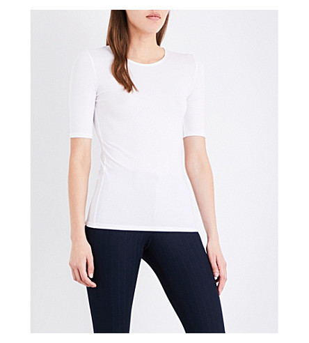 JOSEPH Ribbed-trim stretch-jersey top (021+off+white