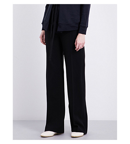 JOSEPH Ferguson high-rise wide-leg stretch-wool trousers (010black