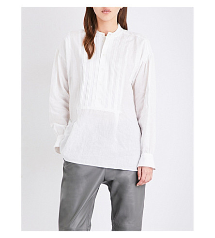 JOSEPH Maine pleated linen blouse (020+white